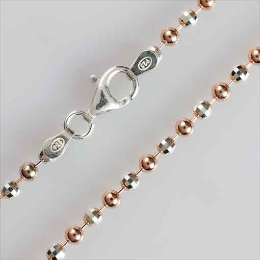 Kugelkette diamantiert, 3,0 silber / rosé