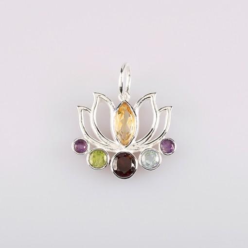 Lotus Pendant with Semiprecious Stones