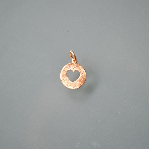 Round Charm with Heart Cutout