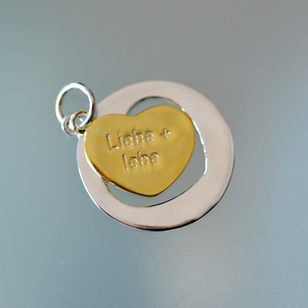 Round Pendant with Cutout Heart